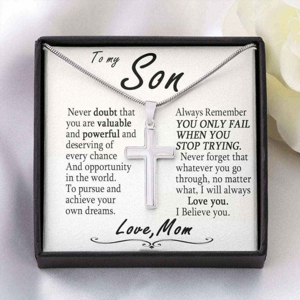 Son Necklace, Christian Jewelry Cross Necklace, Valentine Day Gifts For Son, Birthday Necklace Gift From Mom, Religious Gift