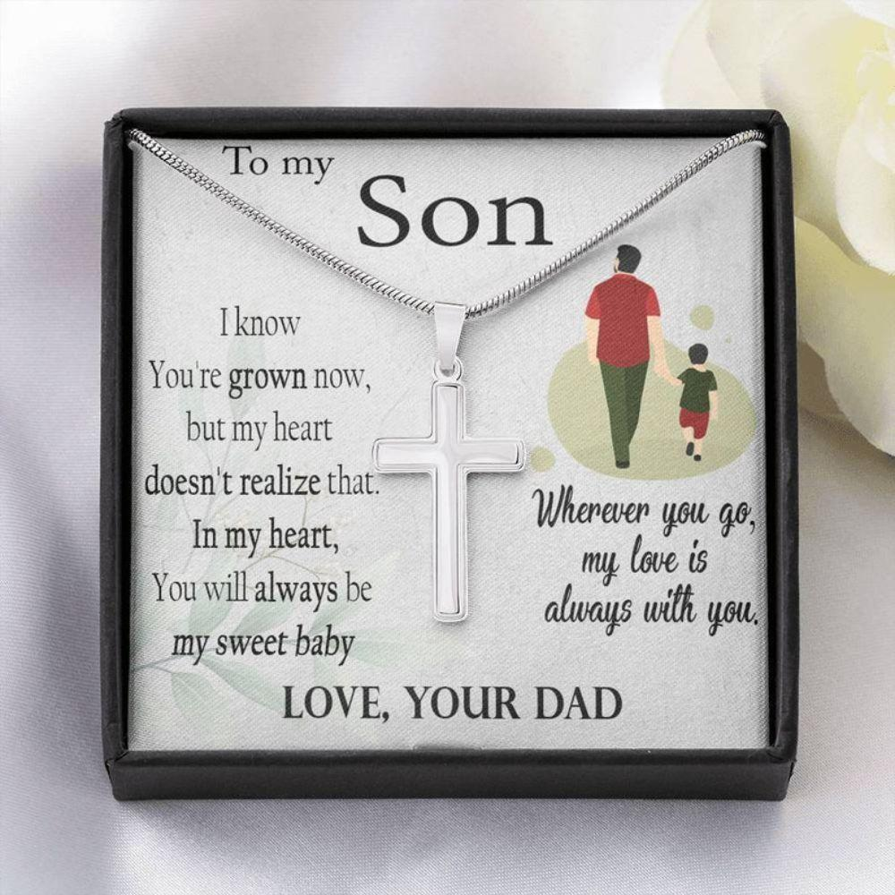 Son Necklace, Cross Necklace For Son, Gift From Dad With Message Card, Christian Cross Necklace, Son Gifts From Dad, Religious Gift