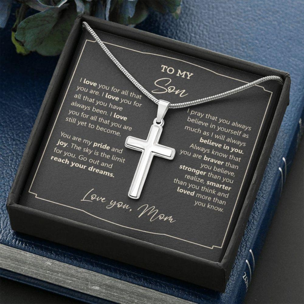 Son Necklace, Gift For Son, Son Cross Necklace, Necklace For Boy, To My Son Cross Necklace, Graduation Gift For Son