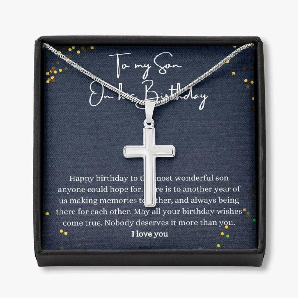 Son Necklace Gift, Happy Birthday Son Gift, Son Birthday Jewelry, Son Thoughtful Cross Neckalce