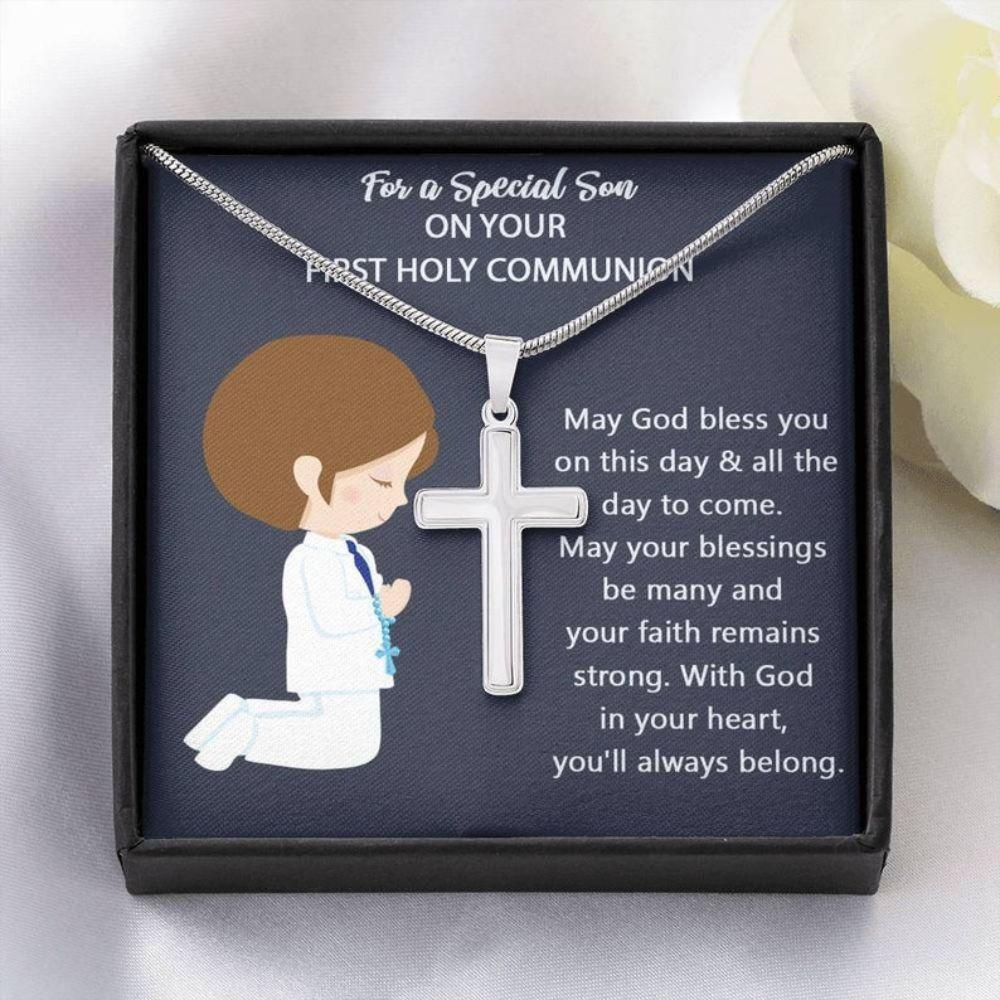 Son Necklace, Holy First Communion Gifts For Son, 1st Holy Communion, Cross Necklace For Son, Congratulations For Him, Baptism
