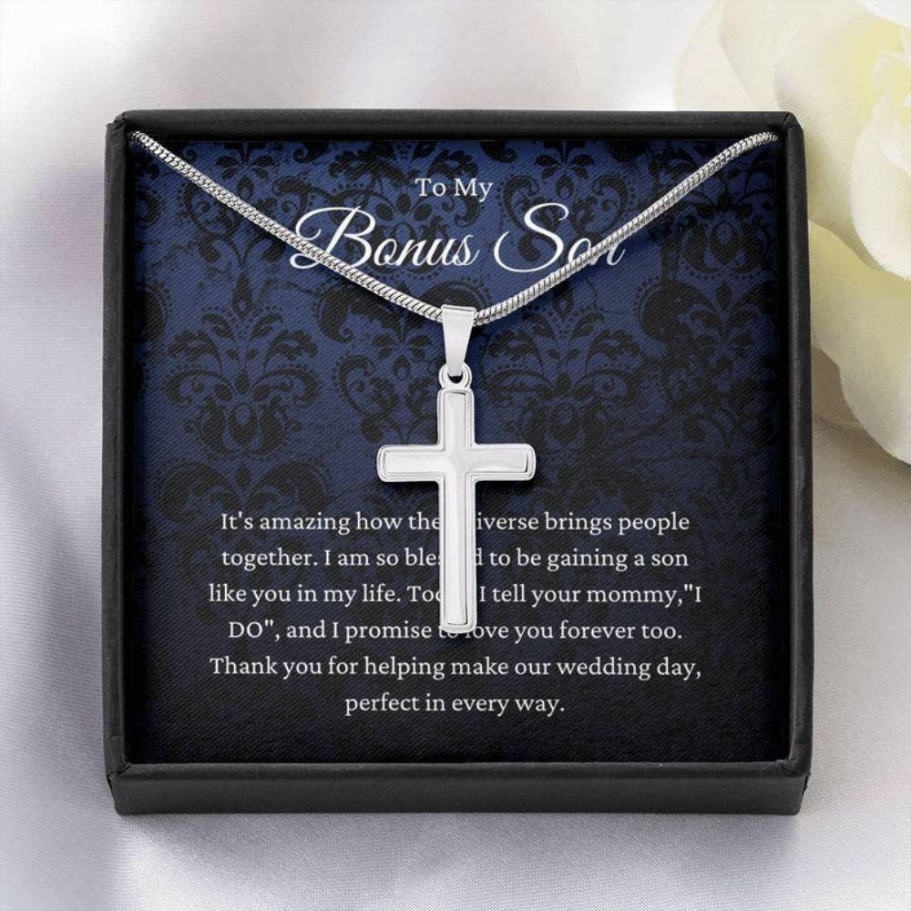 Son Necklace, Son Of The Bride Gift Necklace, Stepson Gift From Stepdad On Wedding Day, Bonus Son Gift, Bridal Party Gift