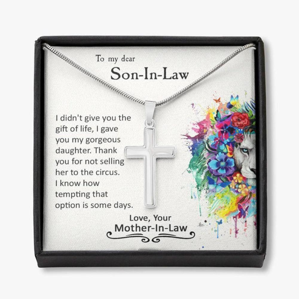 Son Necklace, To My Son-In-Law Cross Necklace, Son-In-Law Birthday Gift, Funny Gift For Son-In-Law