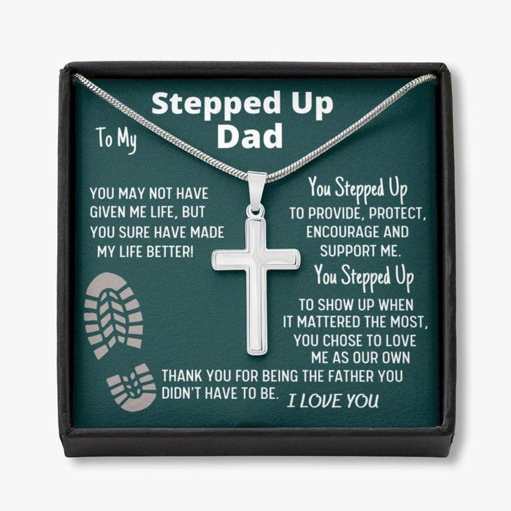Stepdad Necklace, To My Stepped Up Dad Bonus Dad Men Cross Necklace Gift For Stepdad Father�s Day Gift Best Dad Gift