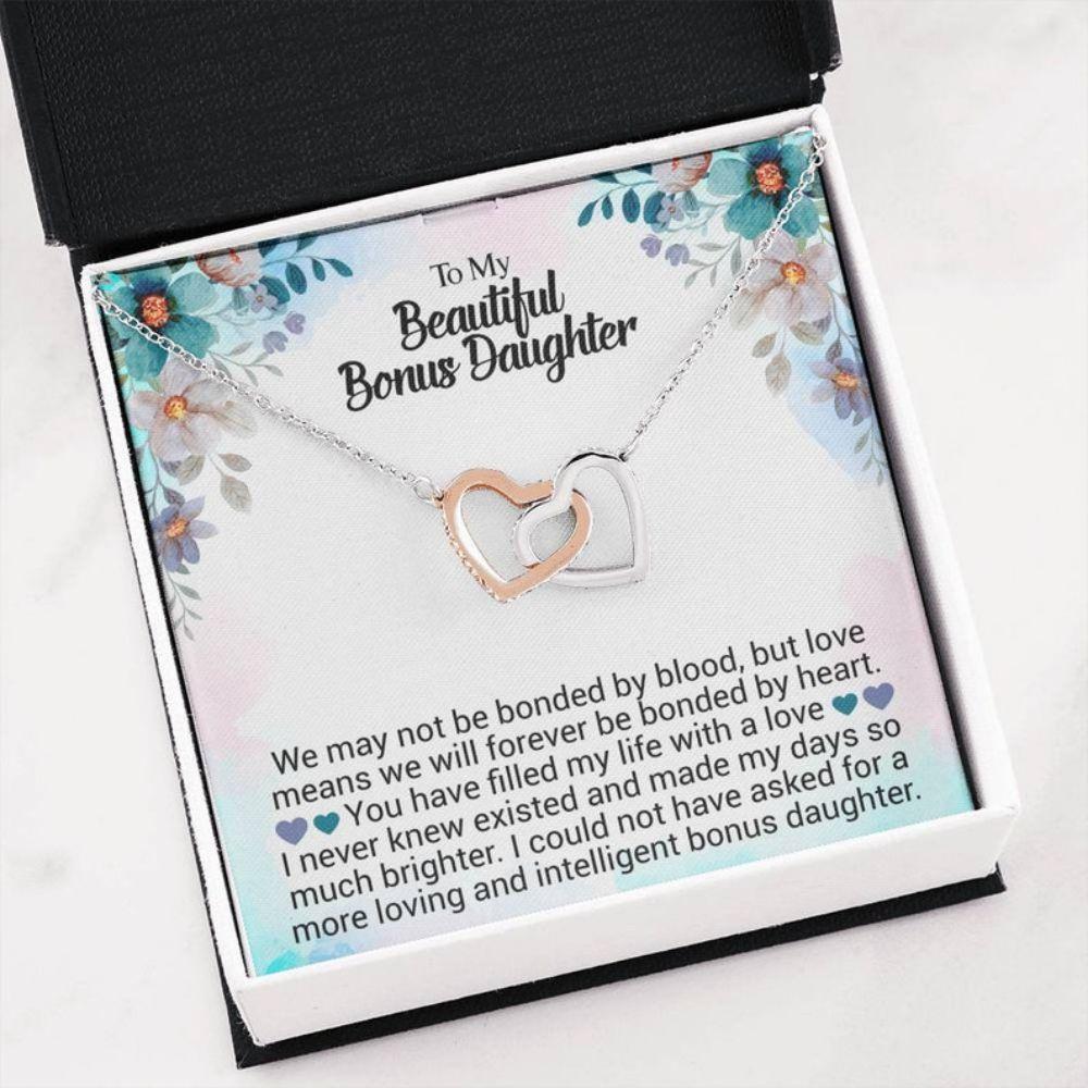 Stepdaughter Necklace, Bonus Daughter Gift - Best Bonus Daughter - Christmas Necklace - Sentimental Card - Family Love Gift