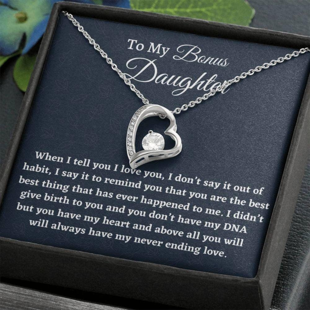 Stepdaughter Necklace, Bonus Daughter Gift, Forever Love Necklace From Stepmom Present For Stepdaughter