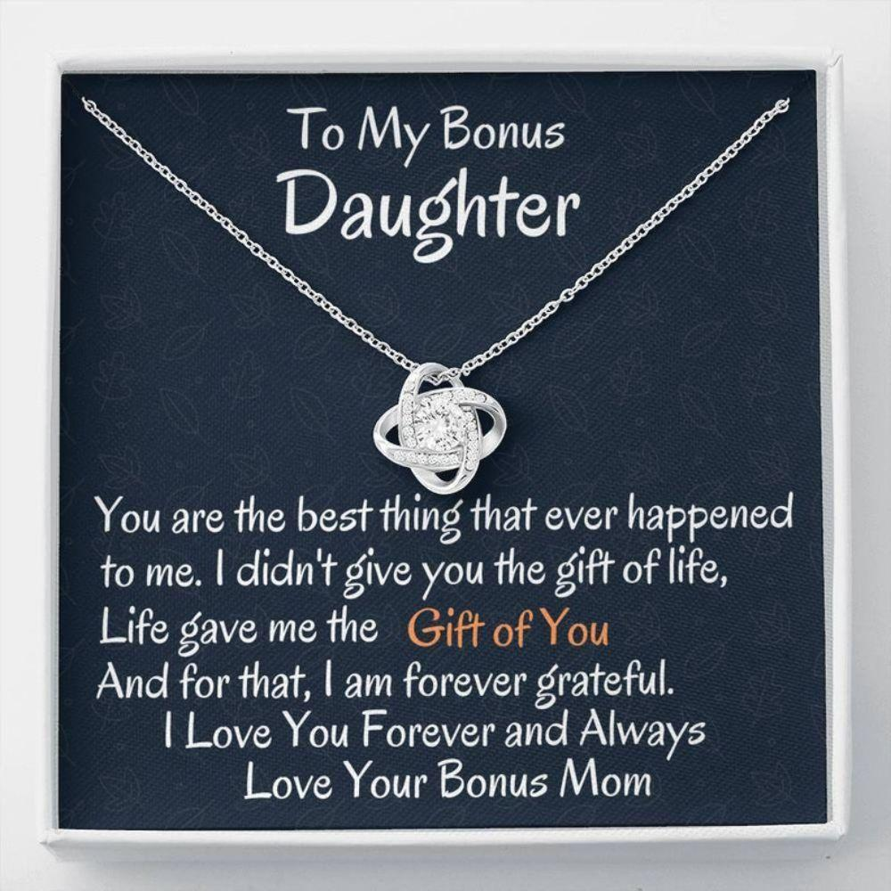 Stepdaughter Necklace, To My Bonus Daughter Love Knot Necklace, Birthday Gift, I Love You