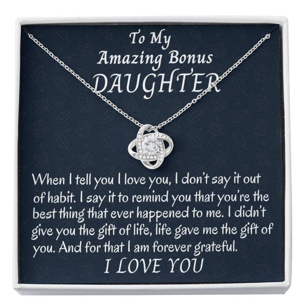 Stepdaughter Necklace, To My Bonus Daughter Love Knot Necklace, Stepdaughter Gift, Gift For Bonus Daughter, Daughter In Law