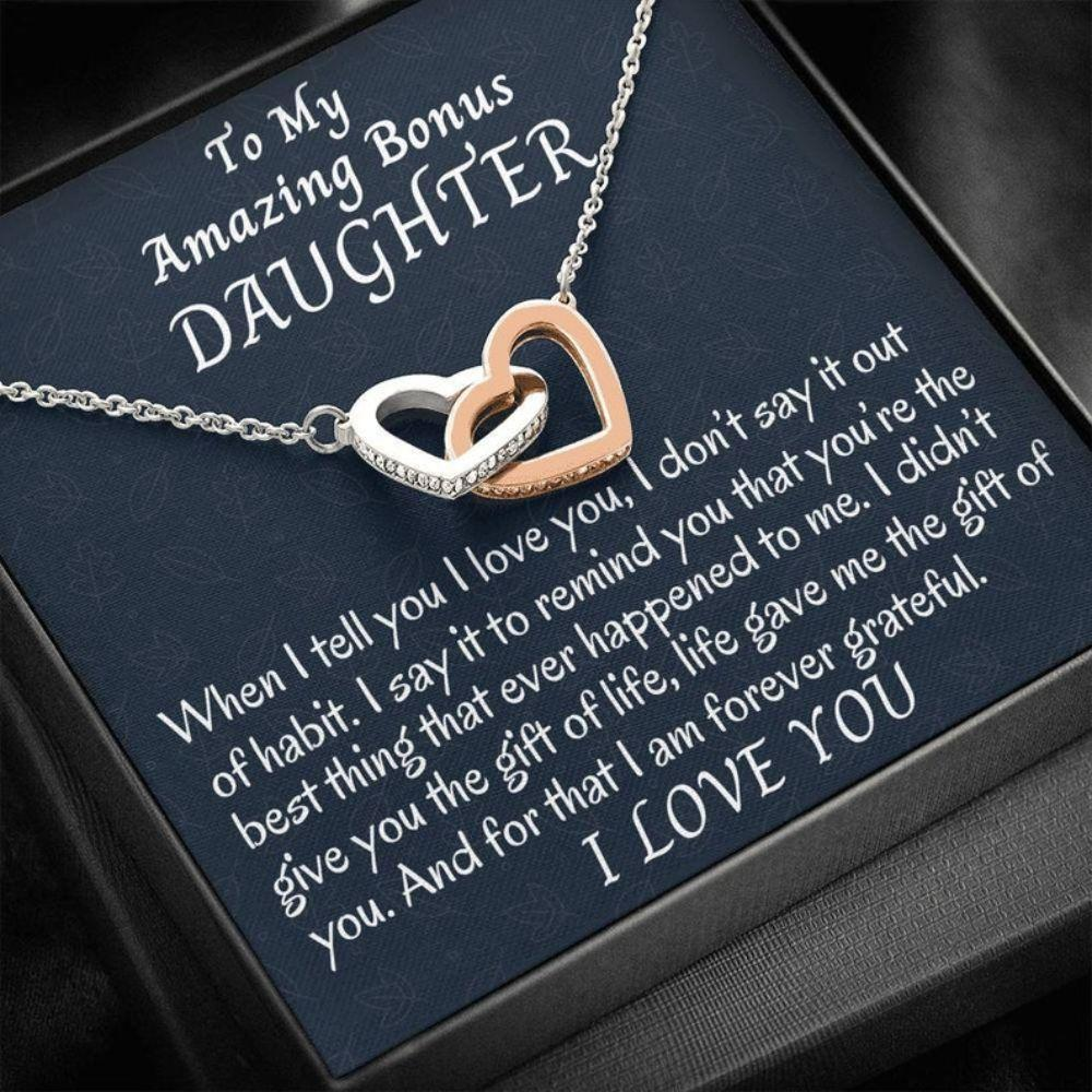 Stepdaughter Necklace, To My Bonus Daughter Two Hearts Necklace, Stepdaughter Gift, Gift For Bonus Daughter, Daughter In Law