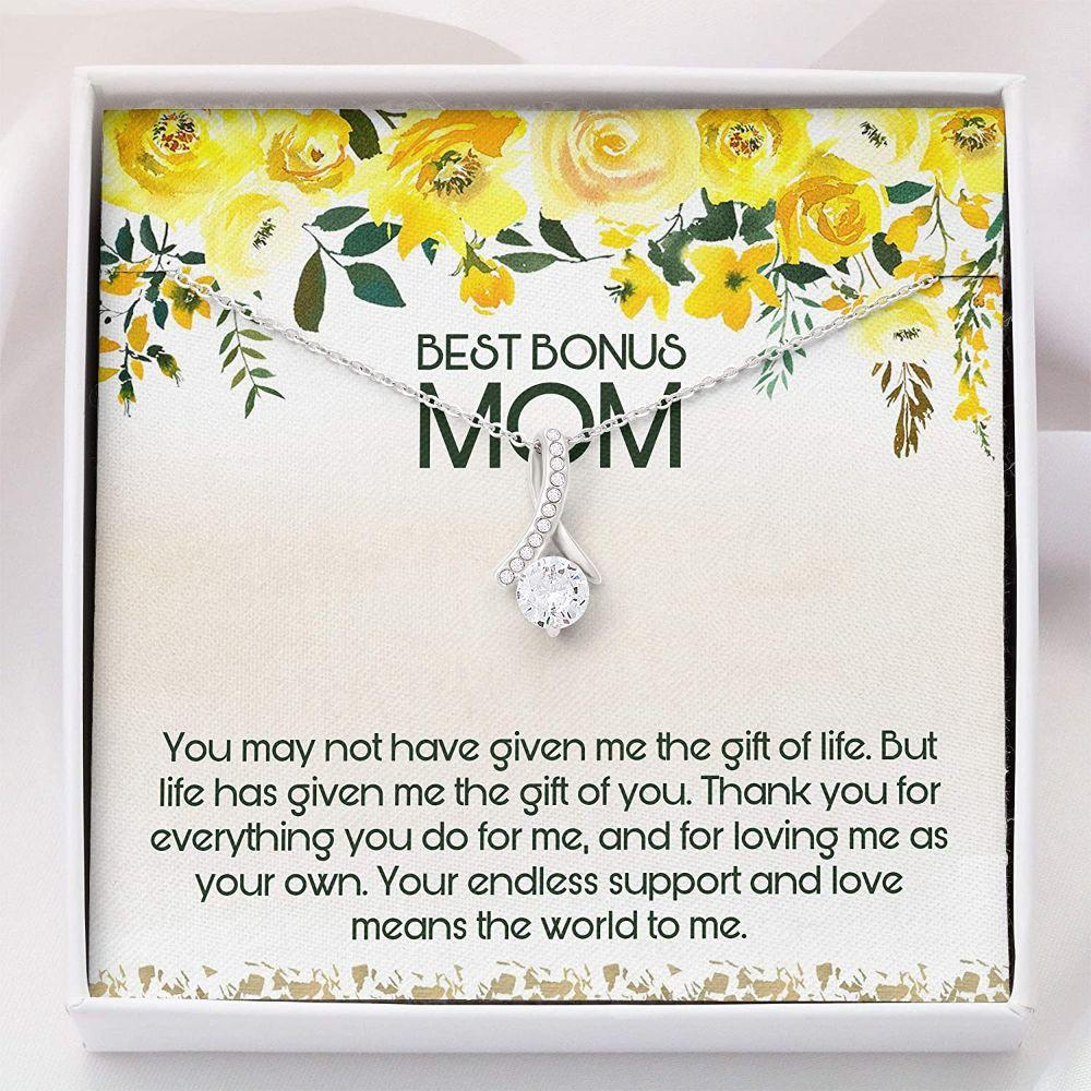 Stepmom Necklace, Best Bonus Mom Necklace - Step Mom Wedding Gift - Alluring Beauty Necklace With Gift Box