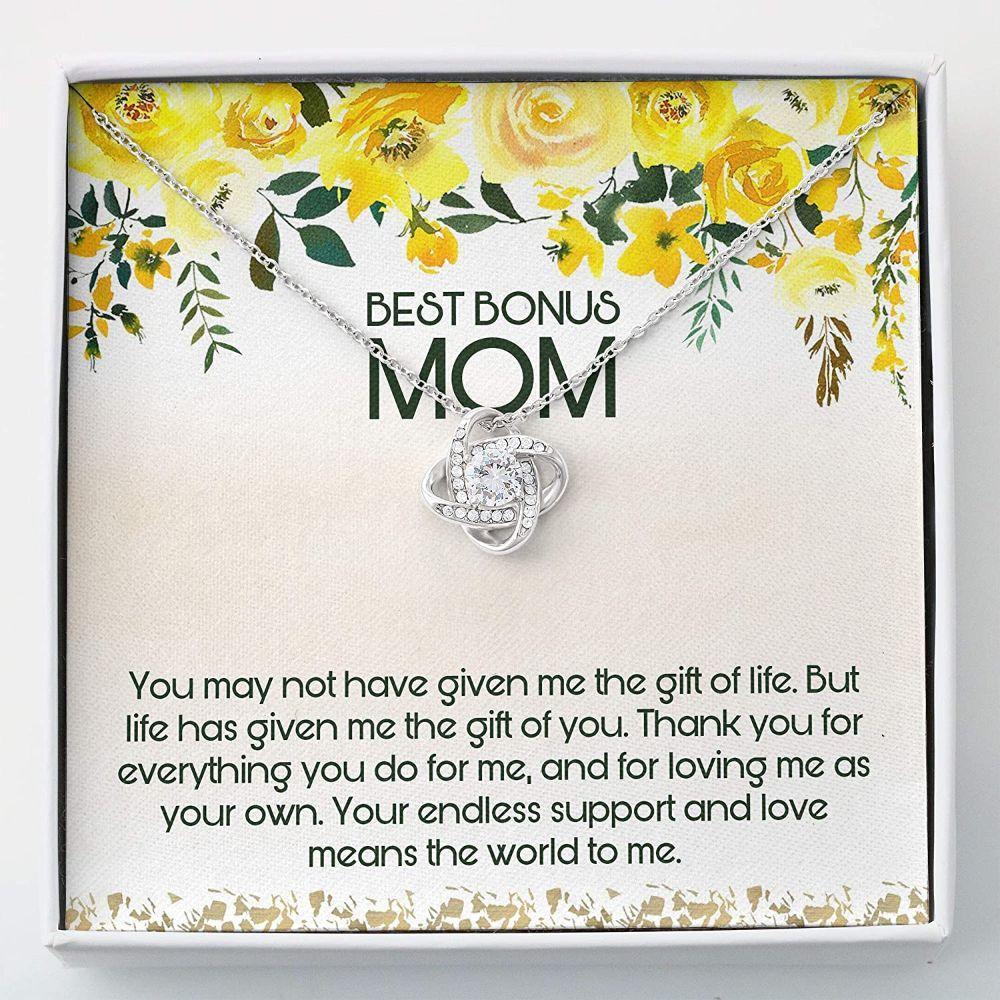 Stepmom Necklace, Best Bonus Mom Necklace - Step Mom Wedding Gift - Love Knots