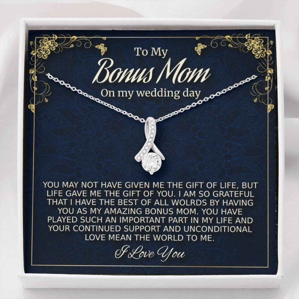 Stepmom Necklace, Bonus Mom Gift On My Wedding Day, Stepmother Wedding Gift From Bride, To Stepmom Of The Bride Gift