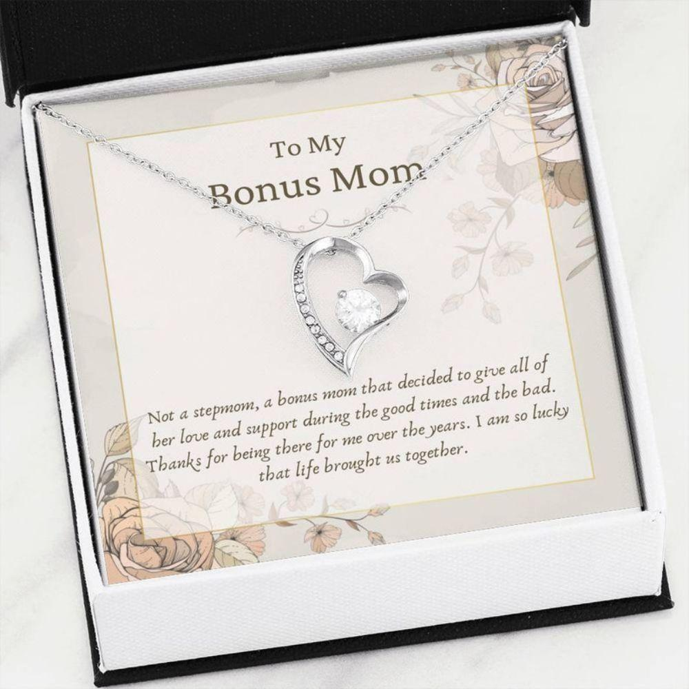 Stepmom Necklace, BONUS MOM Necklace - Best Stepmom Gift - Bling Heart Necklace - Bonus Mom Christmas