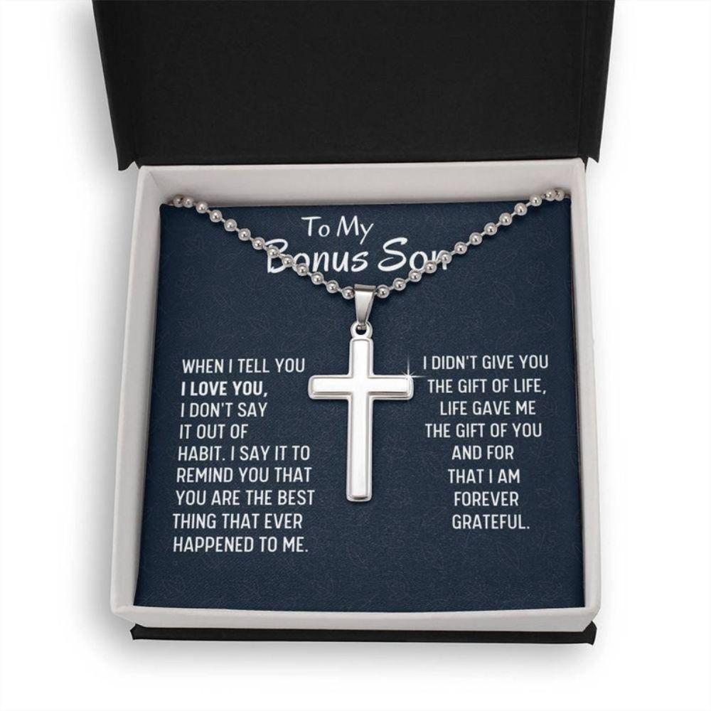 Stepson Necklace, Bonus Son Gift, Stepson Gift, Cross Necklace, Birthday Gift, Stepmom Present For Stepson Son In Law