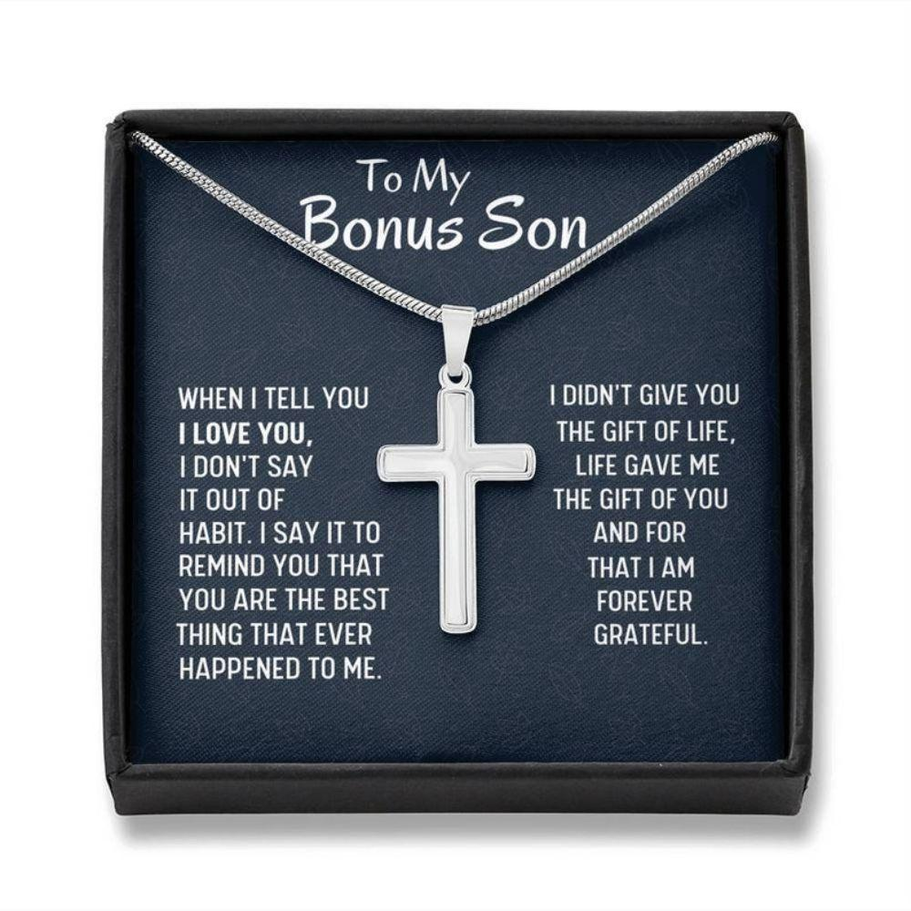 Stepson Necklace, To My Bonus Son Men's Cross Necklace Gift, Stepson Gift, Bonus Son Birthday Gift, Present For Son In Law