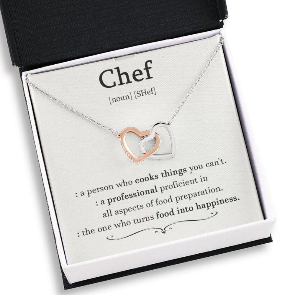 Wife Necklace, Chef Gift For Women, Chef Definition, Chef Interlocking Heart Necklace, For Chef Wife Gift, Gift For Chef, Cooking Gift For Her