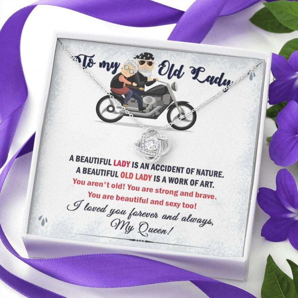 Wife Necklace, Gift For Old Lady From Husband, To My Old Lady Gift Necklace, Old Lady Biker Wife Sentimental Gift, Love Of My Life Necklace