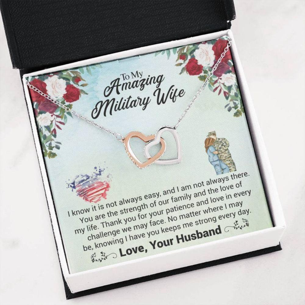 Wife Necklace, Military Wife Necklace - Long Distance Wife Gift - Wife Necklace Card - Army Wife Necklace - Best Navy Wife