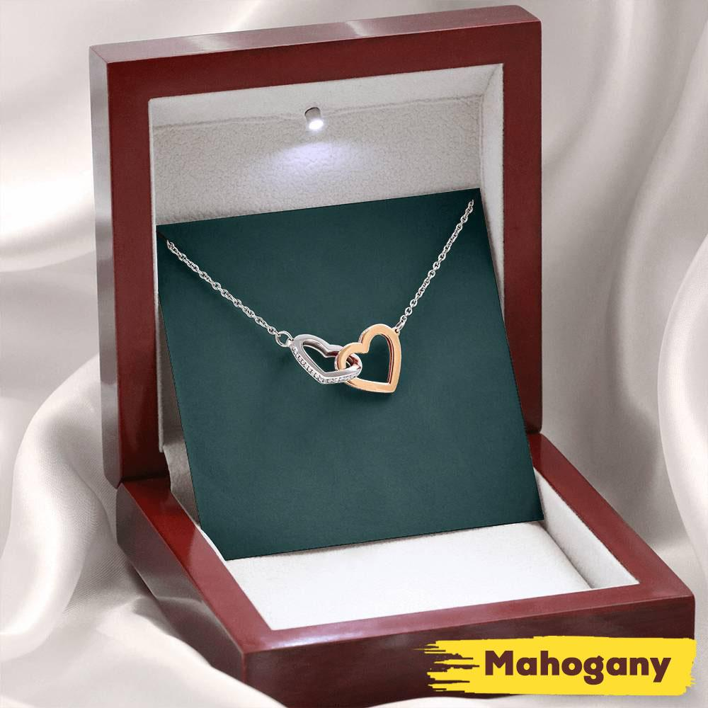 Wife Necklace, Necklace Gift For Her – Message Card For Her – Interlocking Necklace With Gift Box