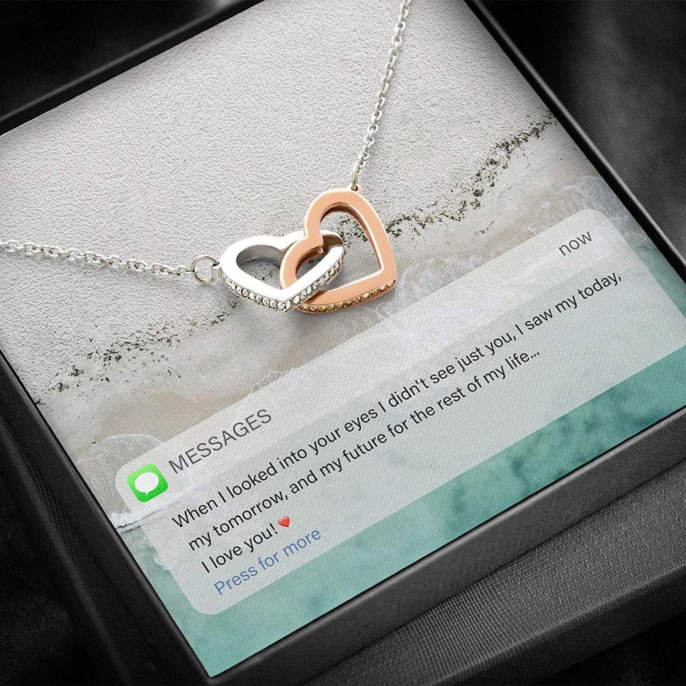 Wife Necklace, Necklace Gift For Her - Message Card For Her - Interlocking Necklace With Gift Box