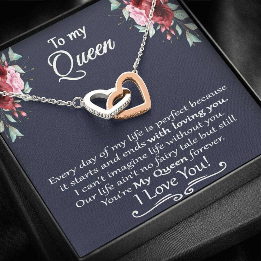 Wife Necklace, Queen Of Heart Necklace, To My Queen Necklace, Gift For Lovers, Wife, Girlfriend, Birthday Necklace Gift For Her, Christmas