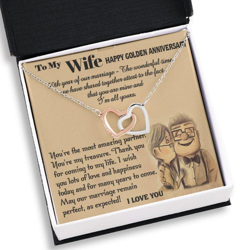 Wife Necklace, To My Wife 50th Anniversary Necklace Gift, Golden Anniversary Necklace For Wife, 50 Years Wedding Necklace, Wife Gift