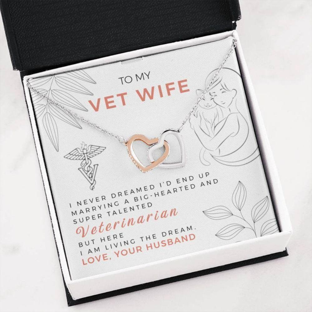 Wife Necklace, Vet Wife Necklace - Veterinarian Gift - Wife Message Card - Best Vet Necklace - Vet Christmas Gifts